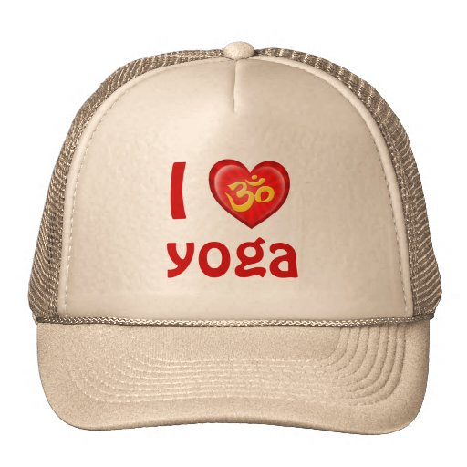 Yoga Love Heart Om Yellow and Red Trucker Hats