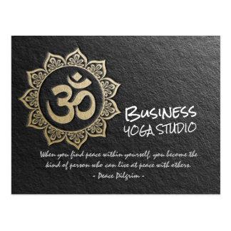 YOGA Meditation Chic Black Gold OM Mandala Quotes Postcard