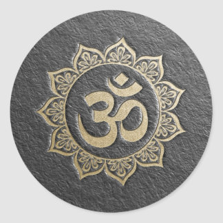 YOGA Meditation Instructor Black & Gold OM Mandala Classic Round Sticker