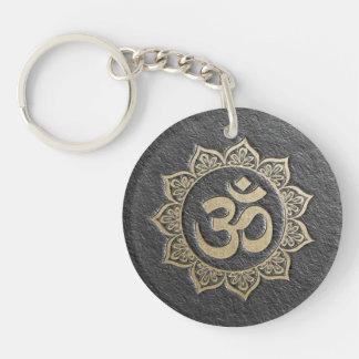 YOGA Meditation Instructor Black & Gold OM Mandala Key Ring