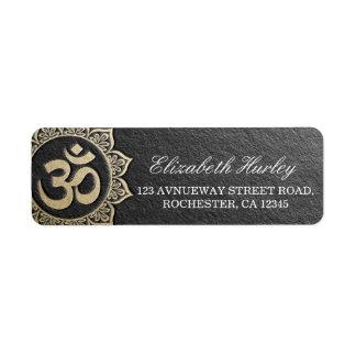 YOGA Meditation Instructor Black & Gold OM Mandala Return Address Label