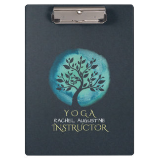 Yoga Meditation Instructor Elegant Watercolor Tree Clipboard
