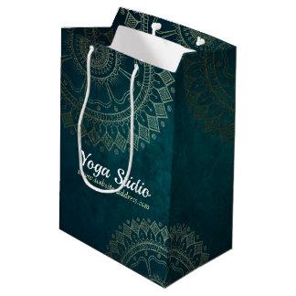 Yoga Meditation Instructor Gold Mandala Navy Blue Medium Gift Bag
