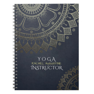 Yoga Meditation Instructor Gold Mandala Navy Blue Notebook