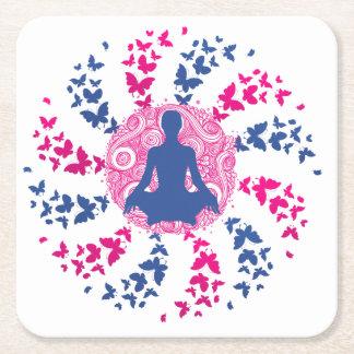 yoga meditation positive energy  peace of mind fre square paper coaster