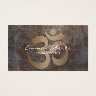 Yoga & Meditation Teacher Vintage Gold Om Sign Business Card