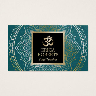 Yoga & Meditation Teacher Vintage Mandala Teal Business Card