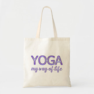 Yoga My Way of Life Purple Shiny Look Typography Tote Bag
