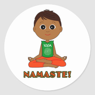 Yoga Namaste Round Sticker