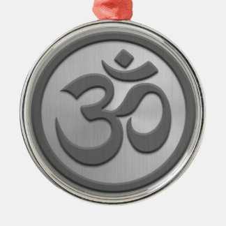 Yoga Om Circle with Stainless Steel Effect Christmas Ornaments