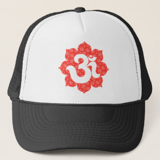 Yoga Om in Lotus red orange Trucker Hat