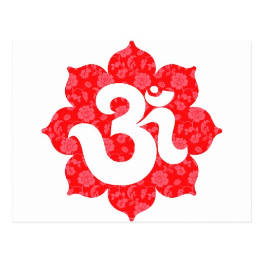 Yoga Om in Lotus Red Post Cards