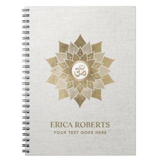Yoga Om Symbol Gold Lotus Flower Namaste Notebook