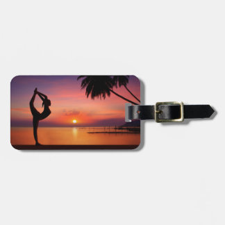 Yoga on the Beach at Sunset Luggage Tag