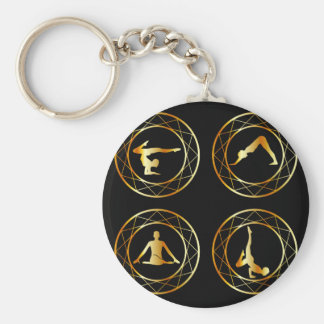 Yoga or gymnast silhouette key ring