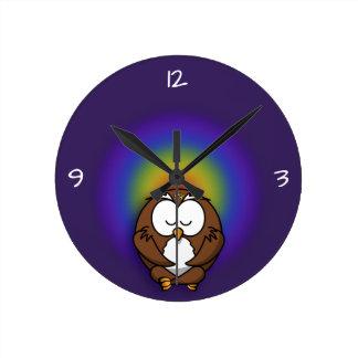 yoga owl round clock