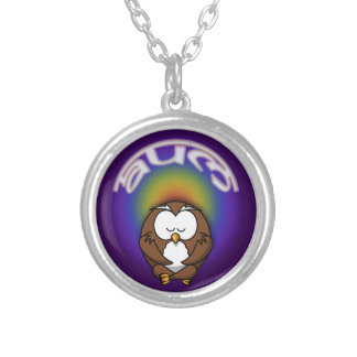 yoga owl silver plated necklace