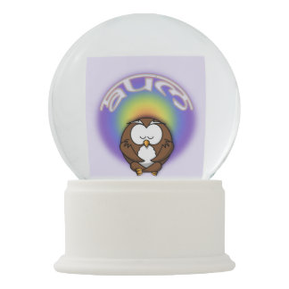 yoga owl snow globe