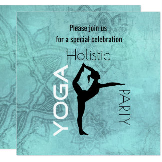 Yoga Party with Yoga Pose on Lotus Background Card