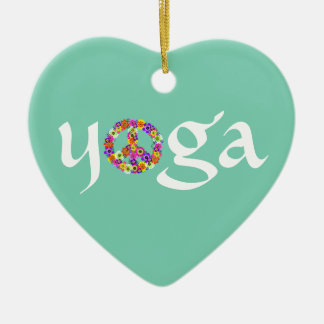 Yoga Peace Sign Floral Ceramic Heart Decoration