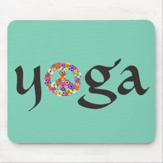 Yoga Peace Sign Floral Mouse Pad