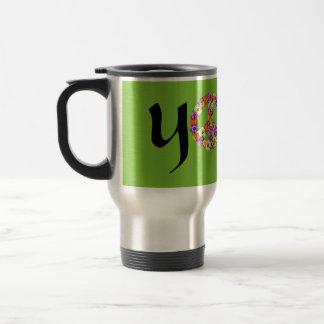 Yoga Peace Sign Floral Coffee Mug