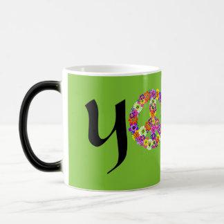 Yoga Peace Sign Floral Mugs