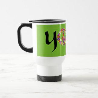 Yoga Peace Sign Floral Mug