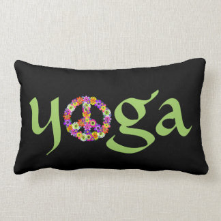 Yoga Peace Sign Floral on Black Throw Pillow