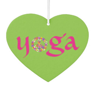 Yoga Peace Sign Floral on Lime Green Car Air Freshener