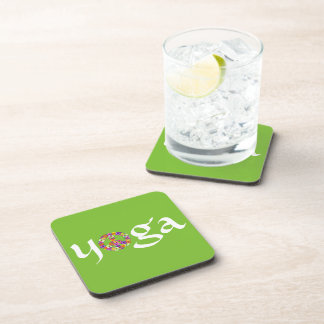 Yoga Peace Sign Floral on Lime Green Coasters