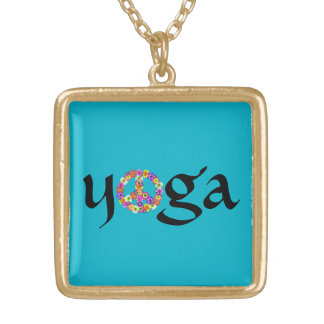 Yoga Peace Sign Floral on Turquoise Square Pendant Necklace