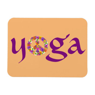 Yoga Peace Sign Floral Rectangular Photo Magnet