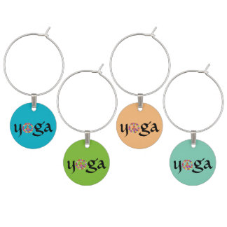 Yoga Peace Sign Floral Wine Charms