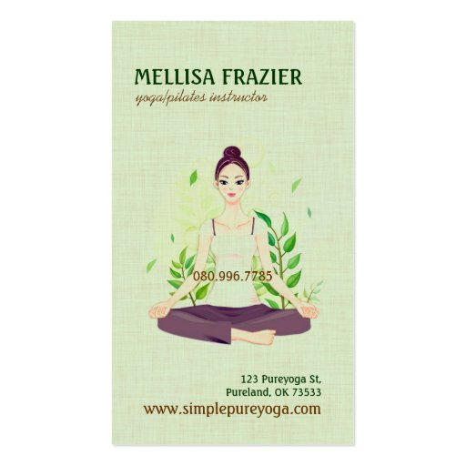 Yoga Pilates Meditation Business/Instructor Business Card Templates
