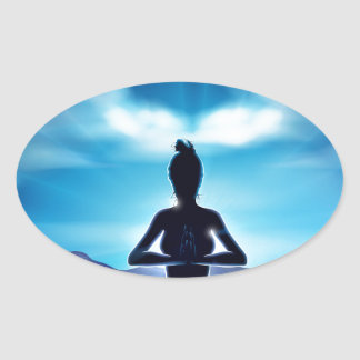 Yoga Pilates Pose Silhouette Woman Concept Oval Sticker