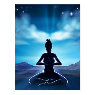 Yoga Pilates Pose Silhouette Woman Concept Postcard