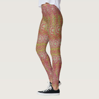 Yoga - Pink & Green Circular Pattern Leggings
