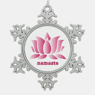 yoga pink lotus namaste snowflake pewter christmas ornament