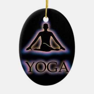Yoga pose glowing in dark- Cow face gomukhasana Ceramic Ornament
