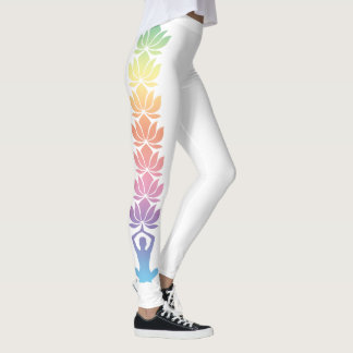 Yoga Pose Namaste Lotus Flowers on Leggings
