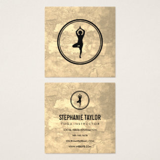 Yoga Pose Sepia Texture Square Business Card