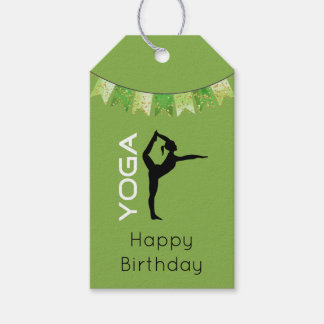Yoga Pose Silhouette on Green Background Birthday Gift Tags