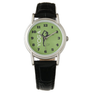 Yoga Pose Silhouette on Green Background Monogram Watches