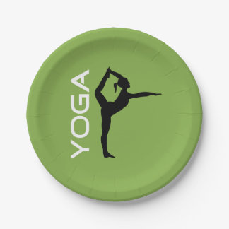 Yoga Pose Silhouette on Green Background Paper Plate