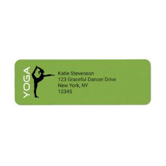 Yoga Pose Silhouette on Green Background Return Address Label