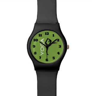 Yoga Pose Silhouette on Green Background Watch