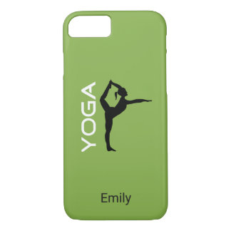 Yoga Pose Silhouette on Green Personalized iPhone 8/7 Case
