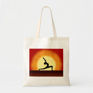 Yoga Pose Silhouette Sunrise Custom Tote Bags