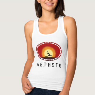 Yoga Pose Sunrise Silhouette Namaste Womens Tank